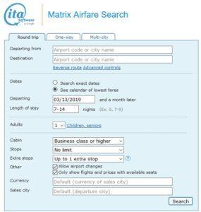Flüge suchen mit der ITA Matrix