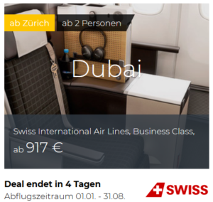 Swiss Business Class Deals