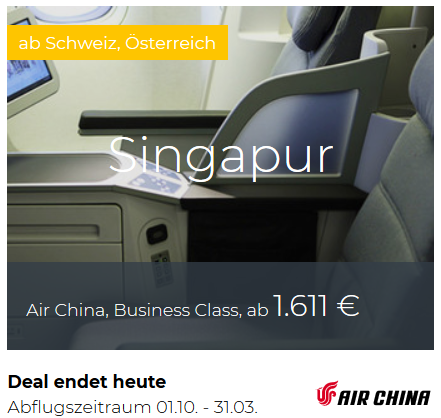 Air China Business Class Deals