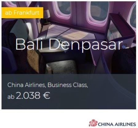 China Airlines Business Class Deals