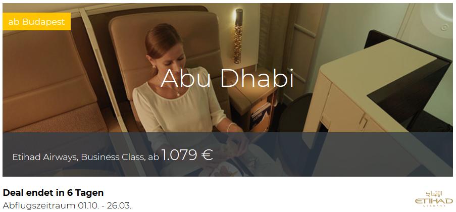 Etihad Business Class Budapest nach Abu Dhabi