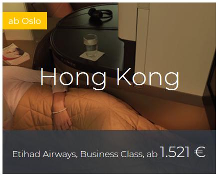 Etihad Business Class von Oslo nach Hongkong