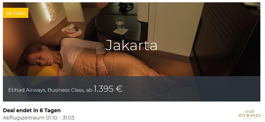 Etihad Business Class von Oslo nach Jakarta