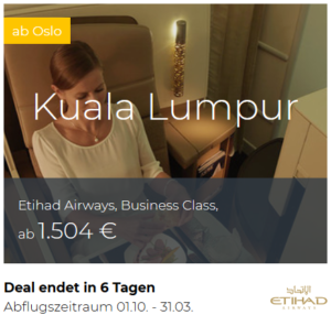 Etihad Business Class Oslo nach Kuala Lumpur
