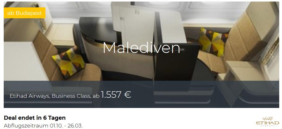 Etihad Business Class von Budapest nach Malediven