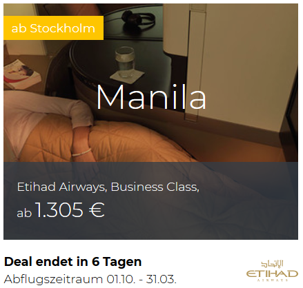 Etihad Business Class Stockholm nach Manila