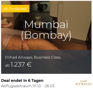 Etihad Business Class Budapest nach Mumbai