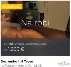 Etihad Business Class Budapest nach Nairobi