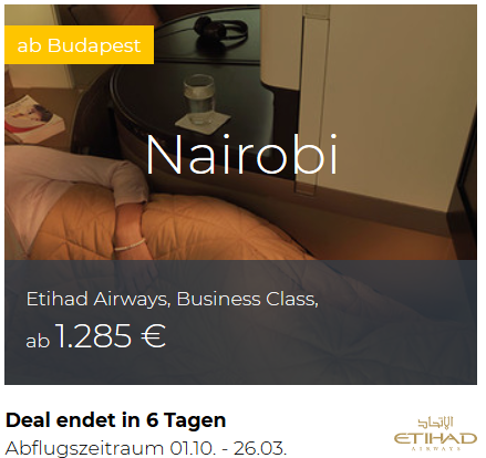 Etihad Business Class von Budapest nach Nairobi