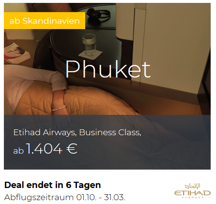 Etihad Business Class von Skandinavien nach Phuket