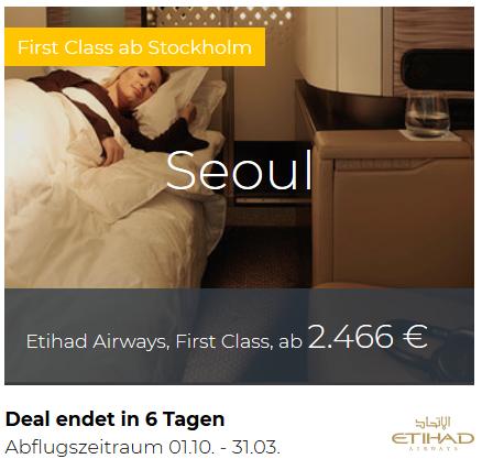 Etihad First Class Stockholm nach Seoul