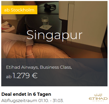Etihad Business Class Stockholm nach Singapur
