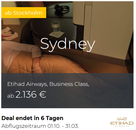 Etihad Business Class von Stockholm nach Sydney