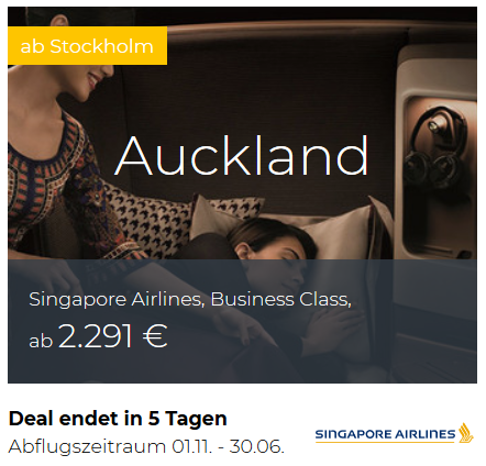 Singapore Airlines Business Class Deals