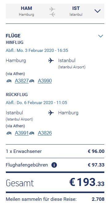 Aegean Hamburg nach Istanbul