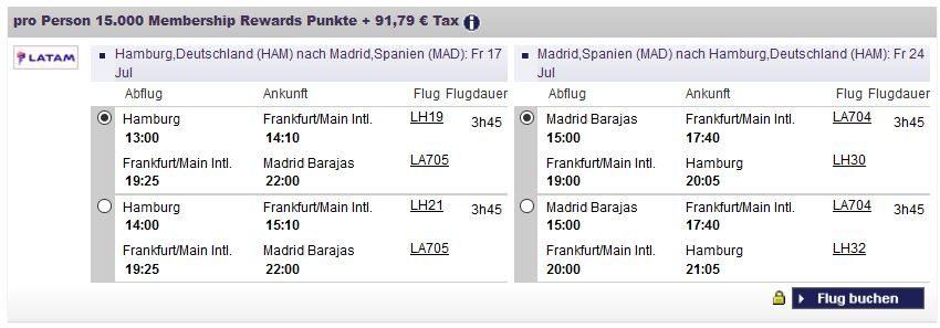 AMEX Prämienflug Hamburg- Madrid Sommerferien