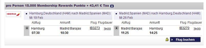 AMEX Prämienflug Hamburg- Madrid