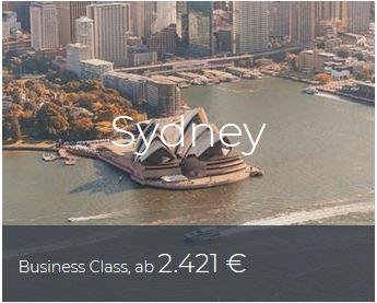 Business Class Deals Sydney