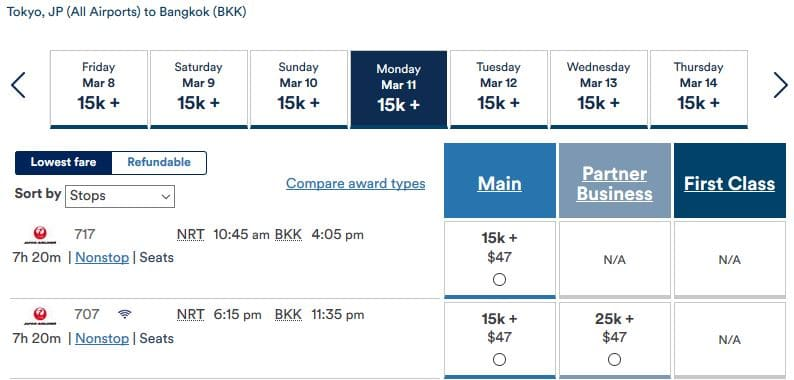 Alaska Mileage Plan JAL Business Class NRT- BKK