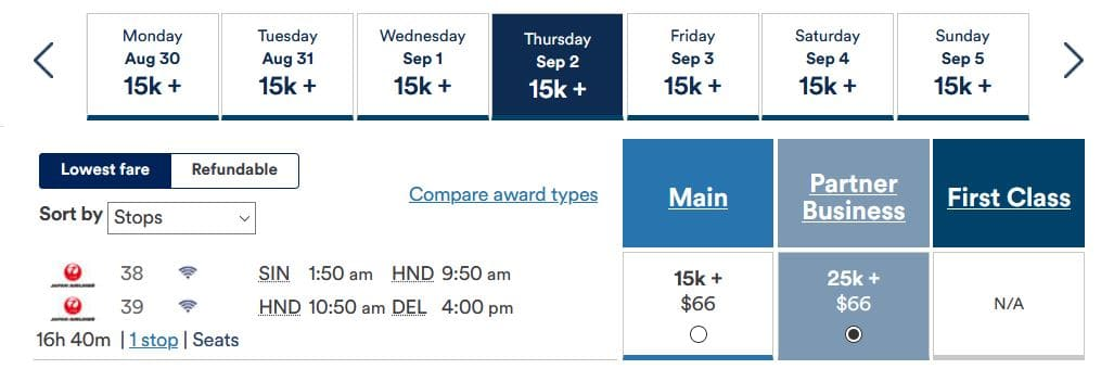 Alaska Mileage Plan JAL Business SIN- DEL