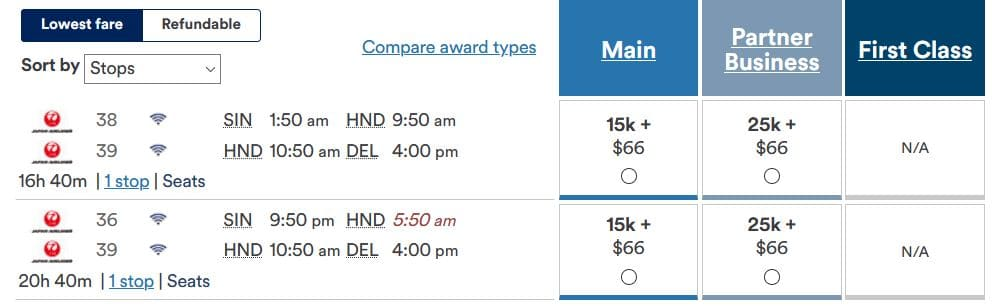 Alaska Mileage Plan JAL Business Class SIN- DEL