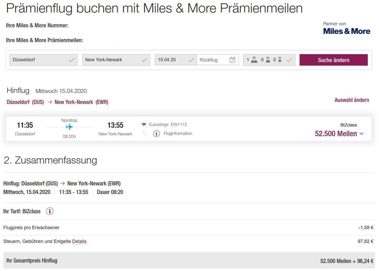 Miles & More Prämienflug Eurowings Business Class DUS-EWR