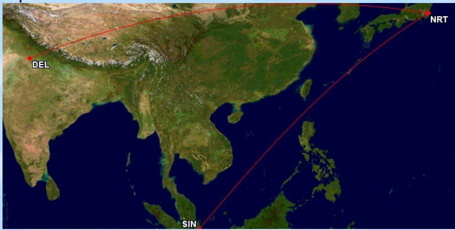 Von Singapur über Tokio nach Delhi