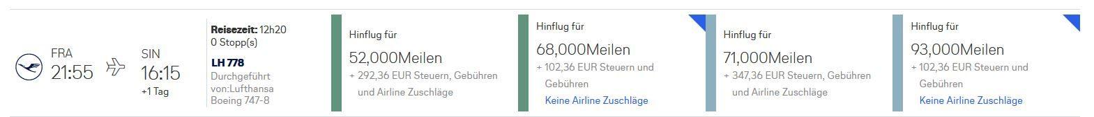 Miles & More Prämienticket Lufthansa FRA- SIN