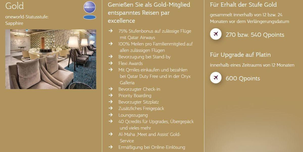 Qatar Airways Privilege Club Gold Status