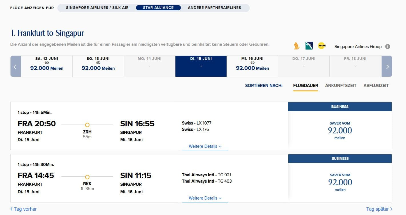 SIngapore Airlines Krisflyer Prämienflüge Star Alliance