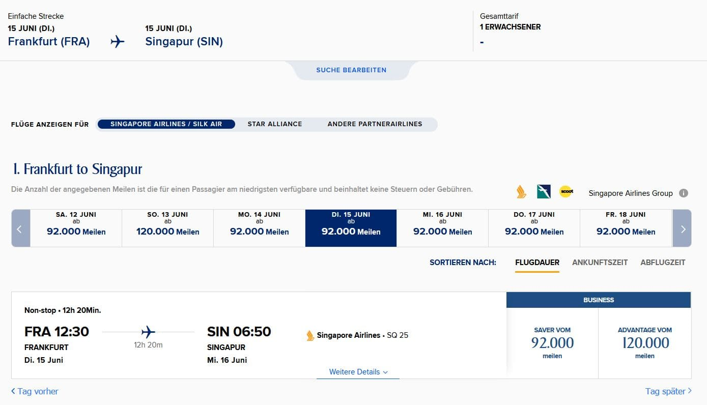 Singapore Airlines Krisflyer Prämienflugsuche