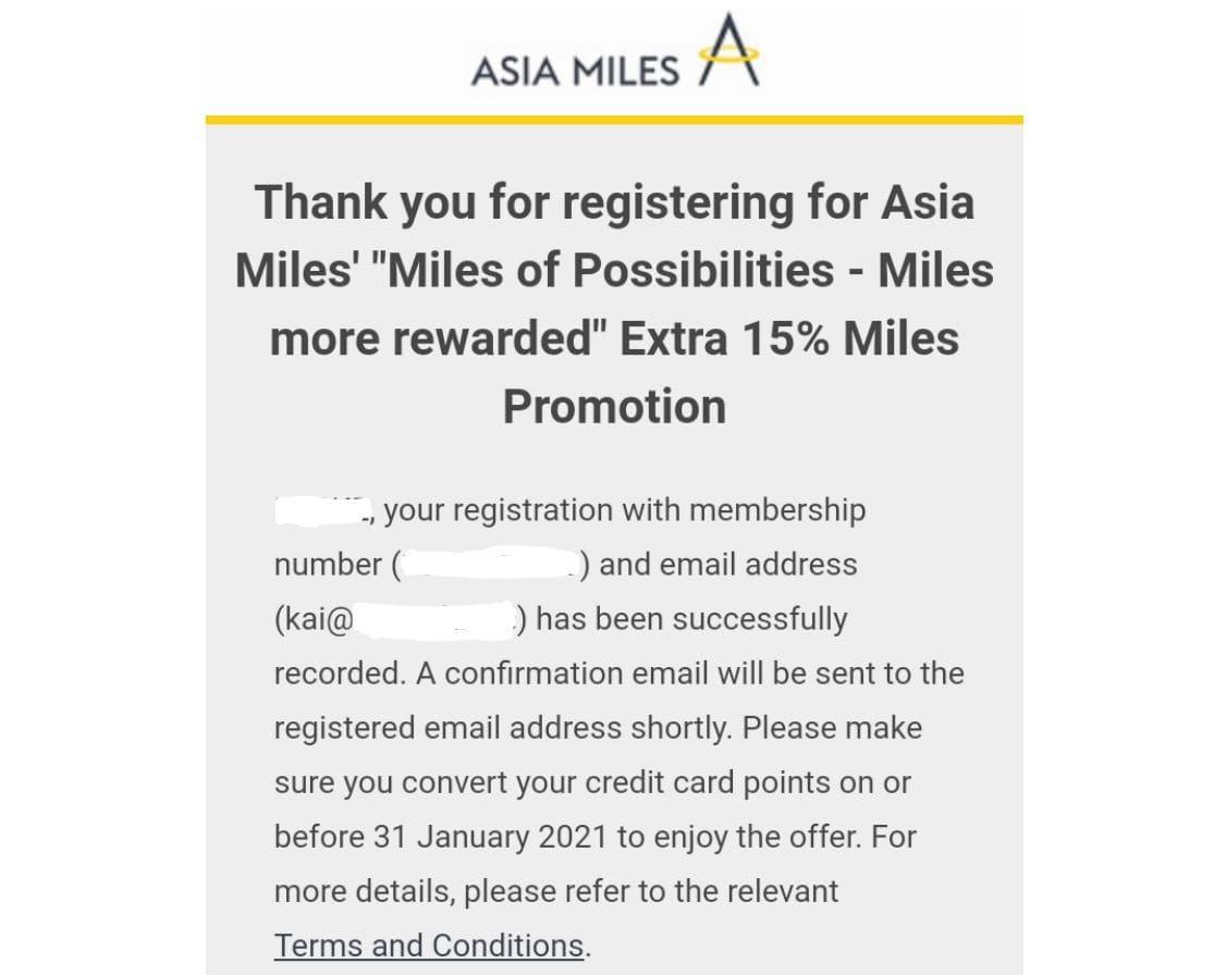 Asia Miles Transferbonus Anmeldung