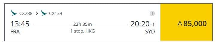 Mit Meilen nach Australien - Cathay Pacific Prämienflug