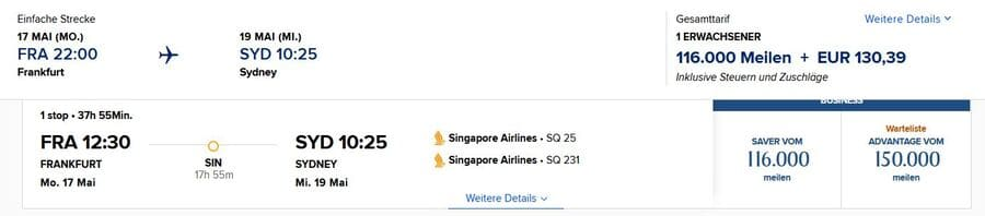 Mit Meilen nach Australien - Singapore Airlines Business Class