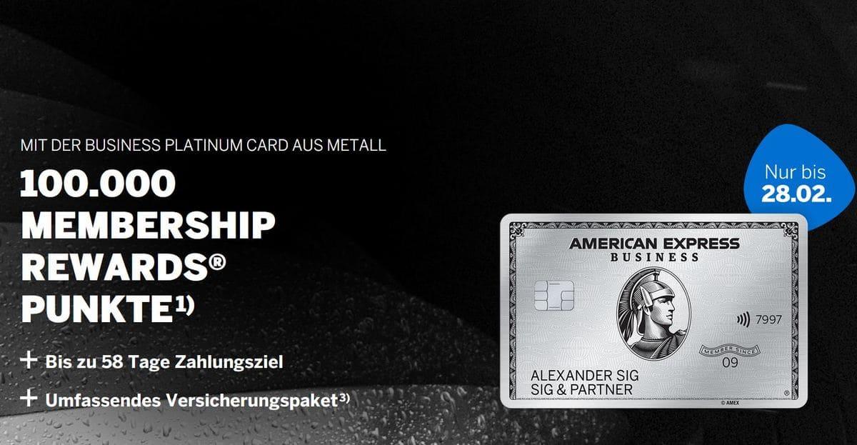 American Express Business Platinum mit 100.000 Punkten
