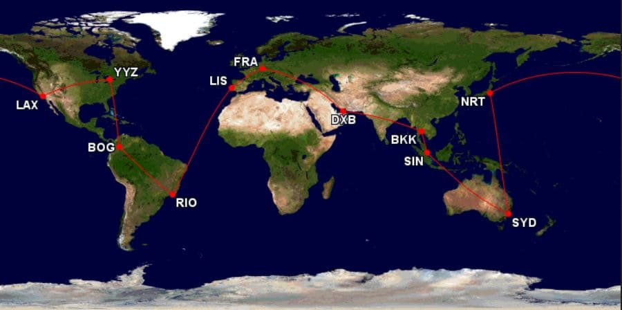 Krisflyer Round the World Prämienticket mit Layover