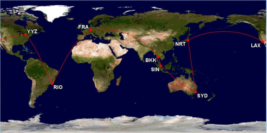Krisflyer Round the World Prämienticket Routings