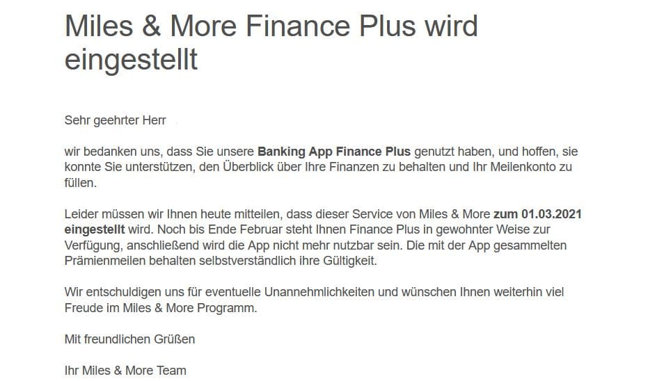 Miles & More Finance Plus App wird eingestellt